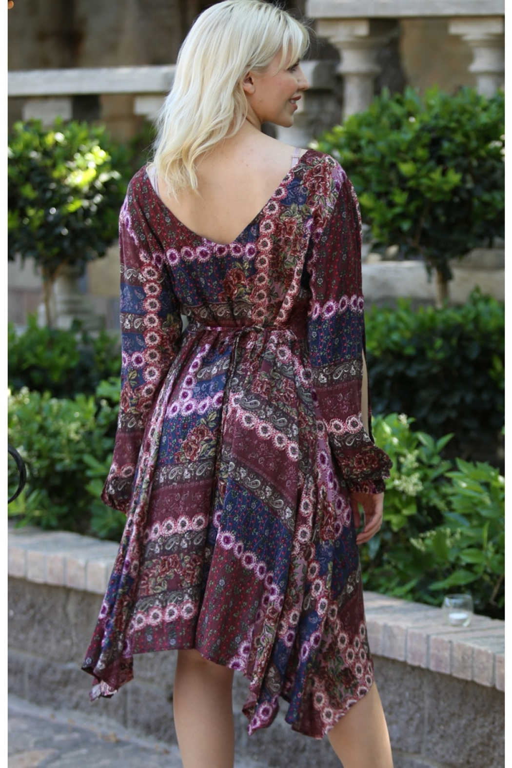 Nostalgia Lace Front Long Sleeve Printed Dress Tie Waist - Main Image