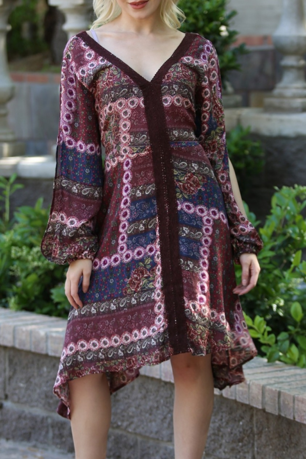 Nostalgia Lace Front Long Sleeve Printed Dress Tie Waist - Front Cropped Image