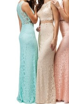 DANCING QUEEN Lace Gown with Mesh Mid Section - Alternate List Image