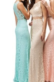 DANCING QUEEN Lace Gown with Mesh Mid Section - Front full body