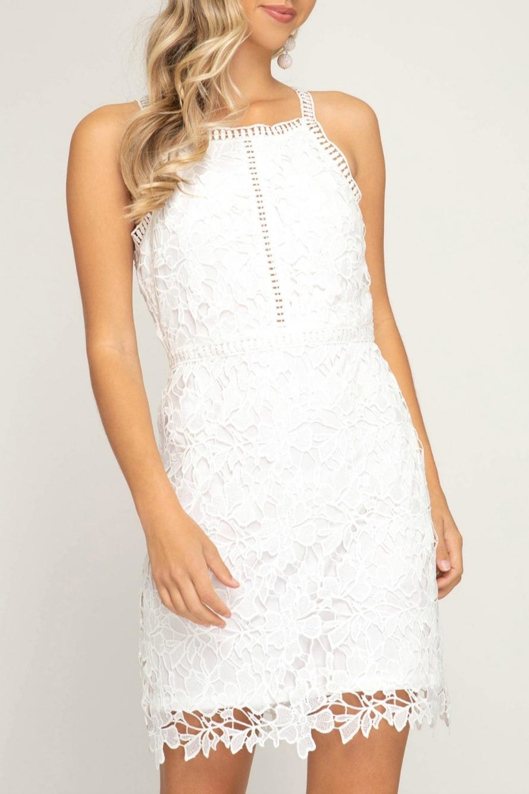 She + Sky Lace Halter Dress - Front Cropped Image