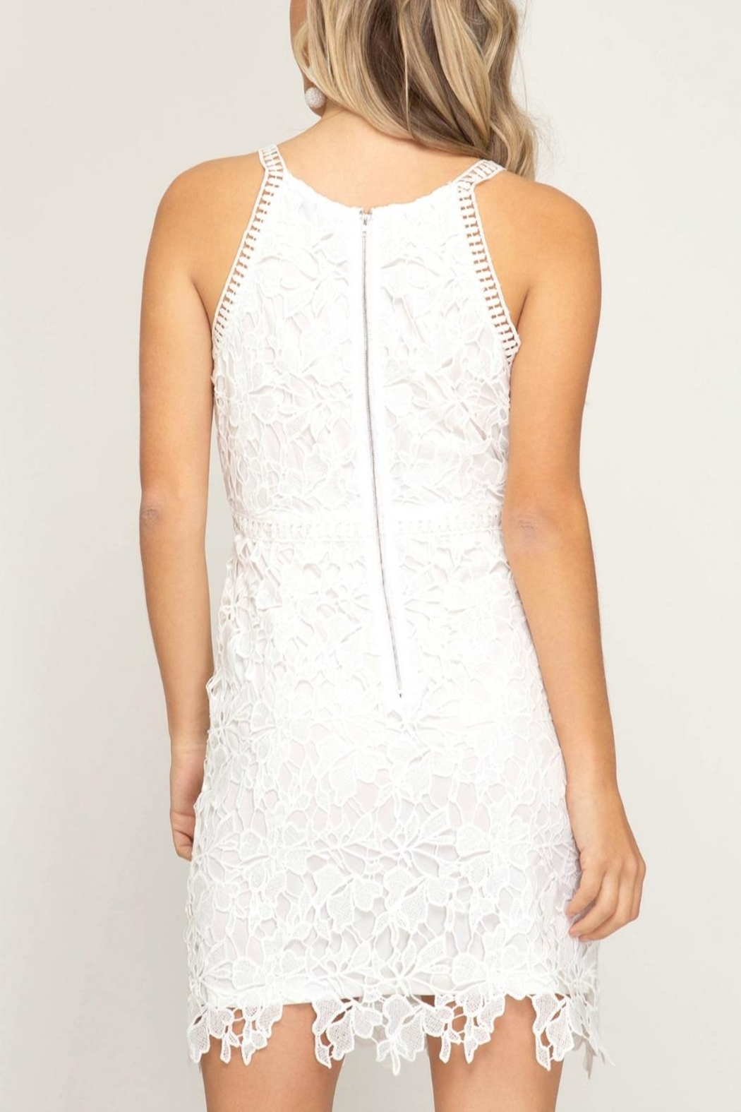 She + Sky Lace Halter Dress - Front Full Image