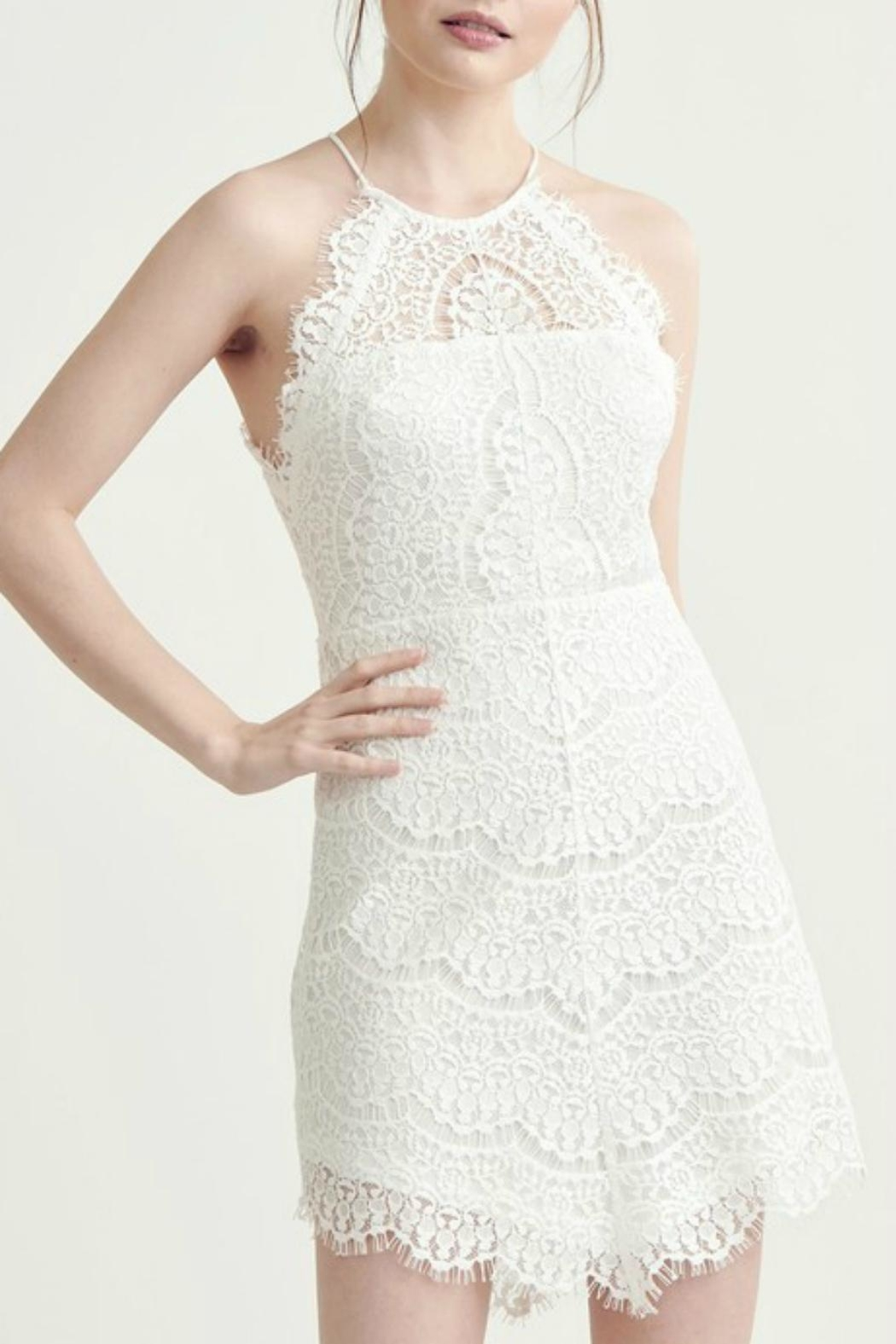Pretty Little Things Lace Halter Dress - Front Cropped Image