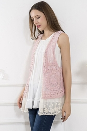 sassy Bling Lace-Hem Crochet Vest - Product Mini Image