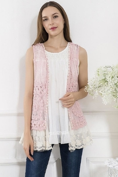 sassy Bling Lace-Hem Crochet Vest - Alternate List Image