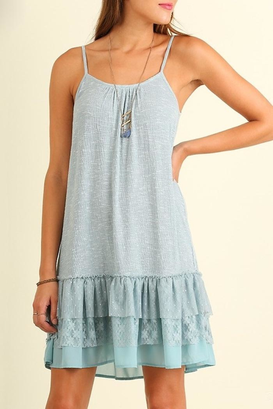 People Outfitter Lace Hem Dress - Back Cropped Image