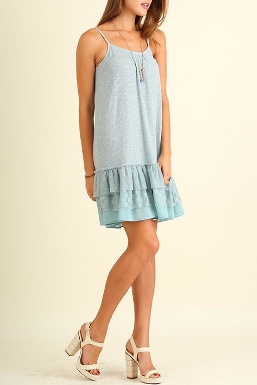 People Outfitter Lace Hem Dress - Front Full Image