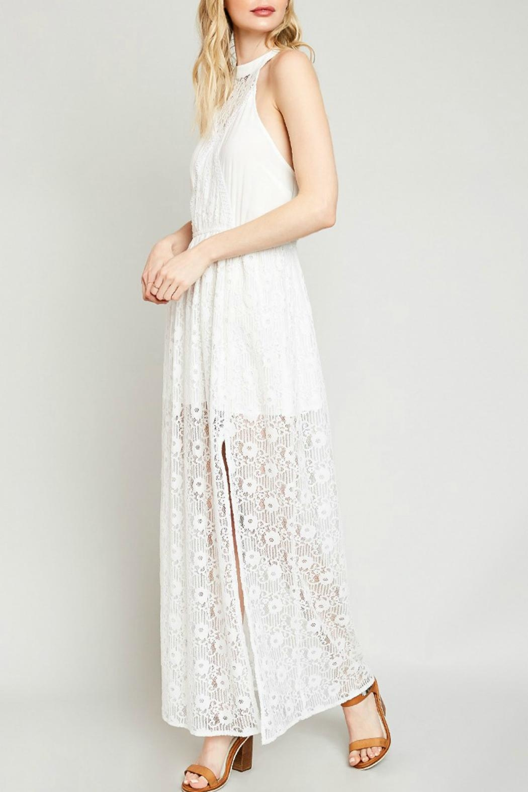 Hayden Lace High-Neck Maxi-Dress - Side Cropped Image