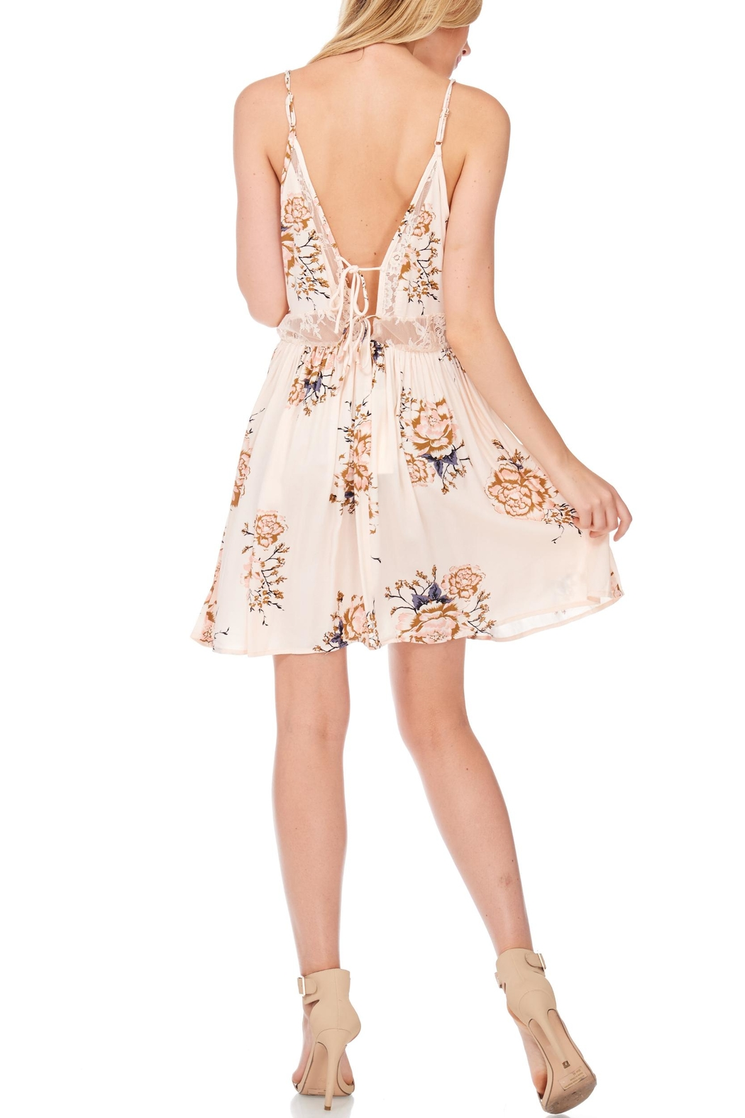 Anama Lace-Insert Floral Mini-Dress - Side Cropped Image