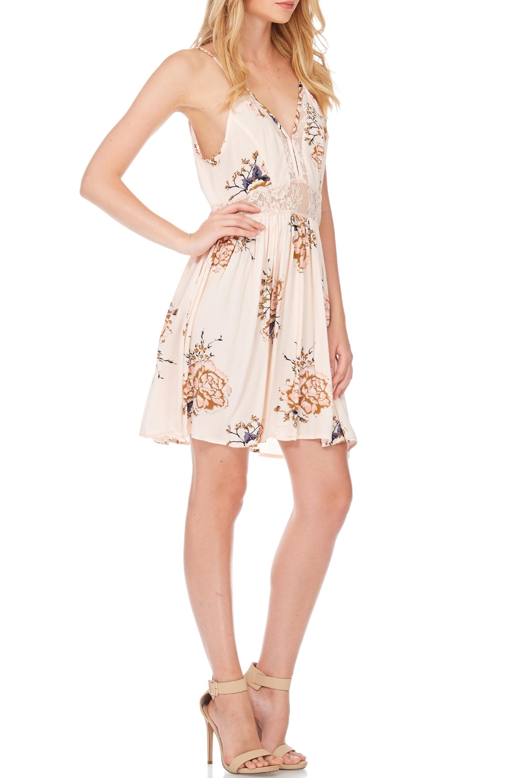 Anama Lace-Insert Floral Mini-Dress - Front Full Image