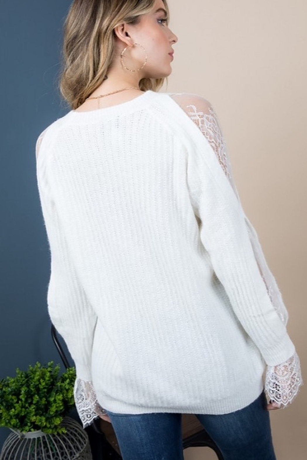 Blue B Lace Insert Sleeve Sweater - Front Full Image