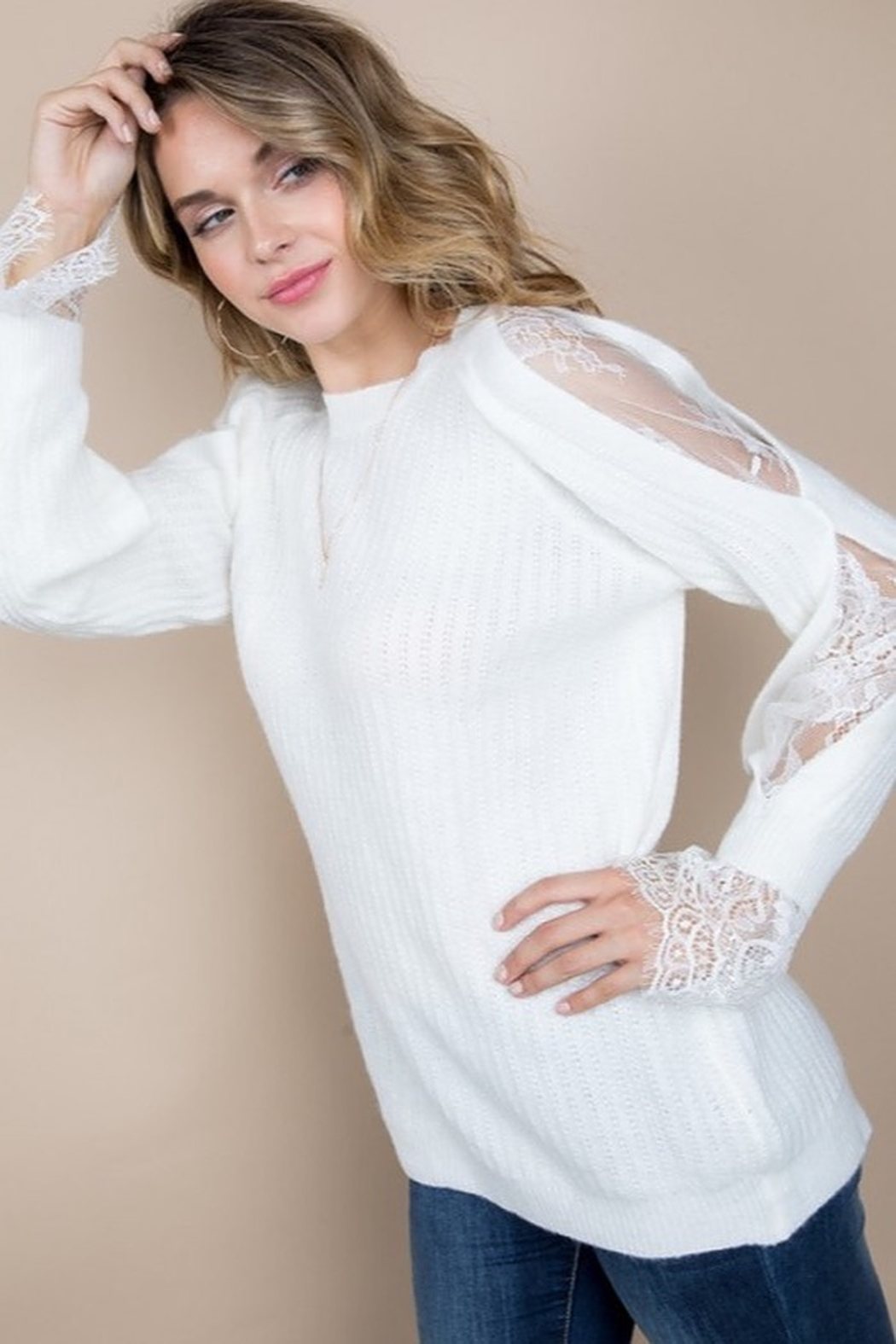 Blue B Lace Insert Sleeve Sweater - Front Cropped Image