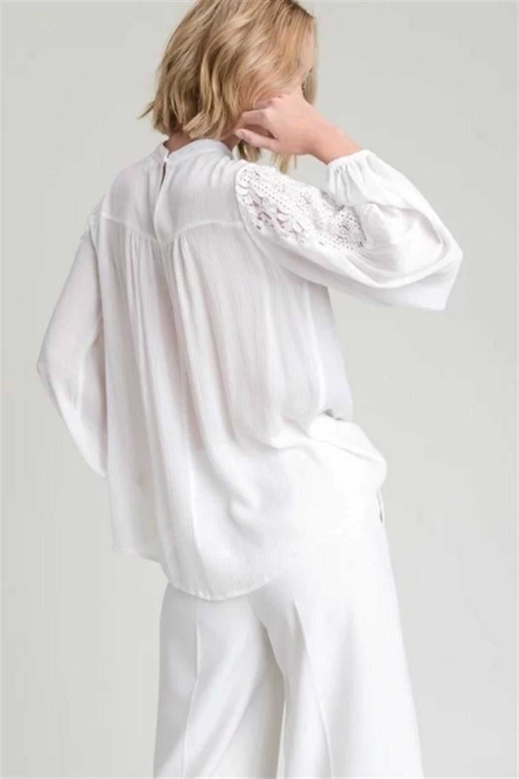 Hem & Thread Lace Inset Blouse - Front Full Image