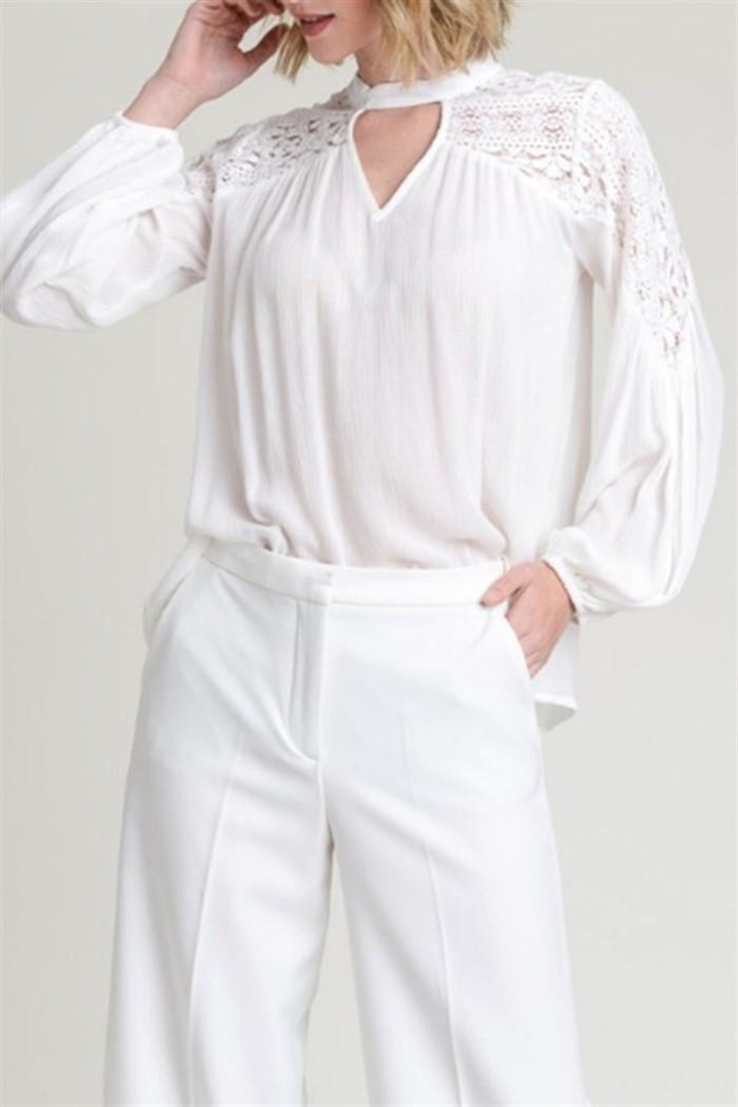 Hem & Thread Lace Inset Blouse - Front Cropped Image