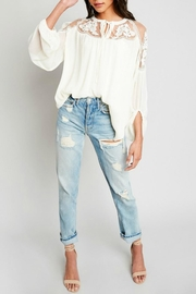 Hayden Los Angeles Lace-Inset Cream Tunic - Front full body