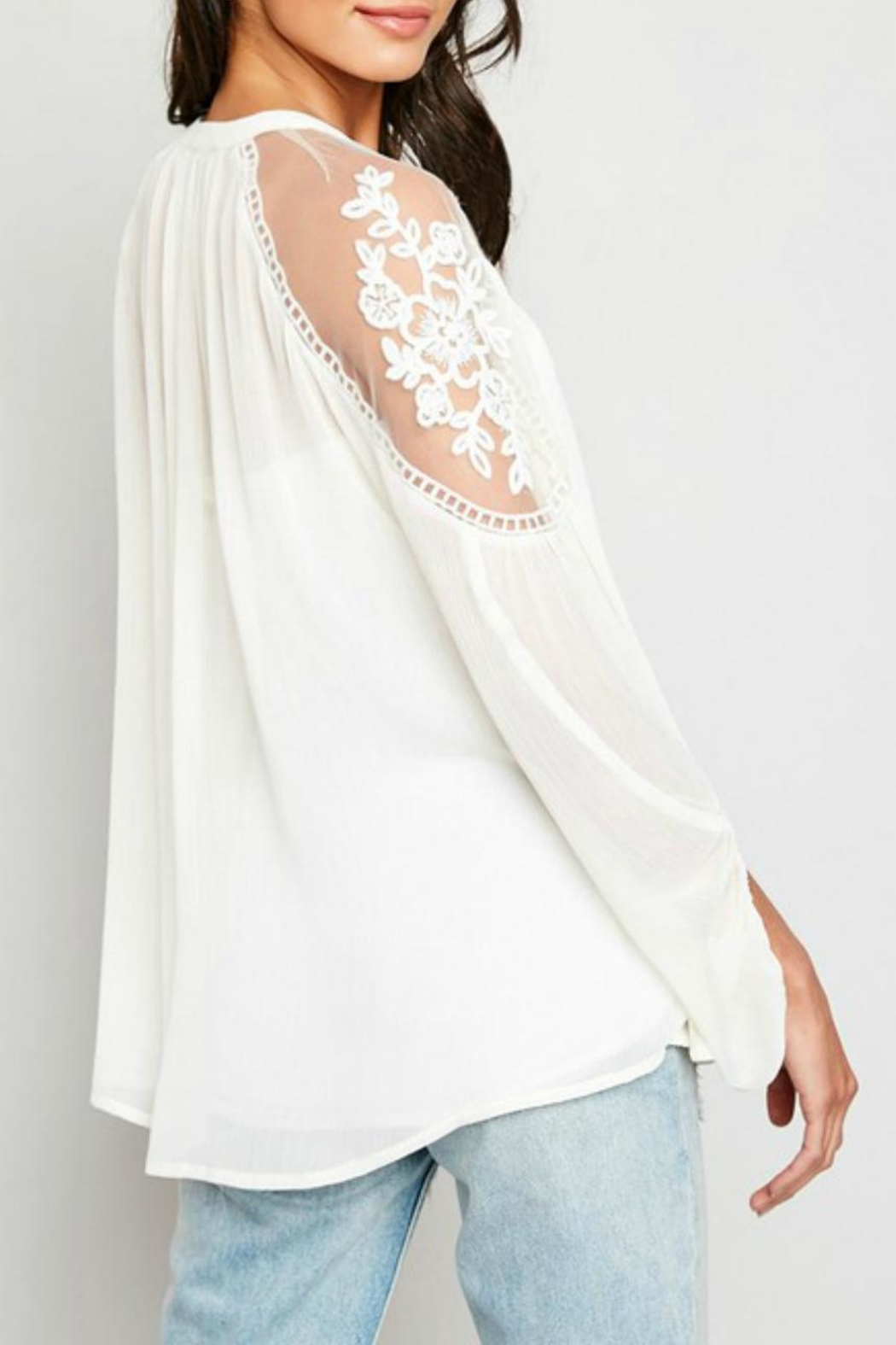 Hayden Los Angeles Lace-Inset Cream Tunic - Side Cropped Image