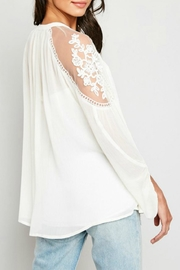 Hayden Los Angeles Lace-Inset Cream Tunic - Side cropped
