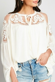 Hayden Los Angeles Lace-Inset Cream Tunic - Product Mini Image