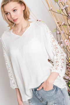 Davi & Dani Lace-Inset V-Neck Blouse - Product List Image