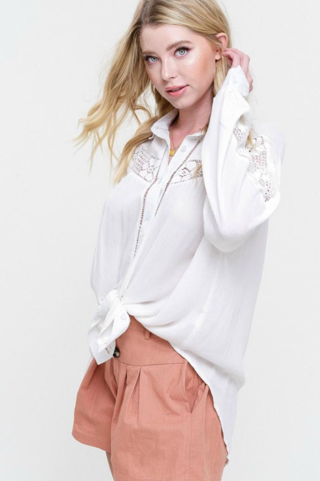Listicle Lace-Inset White Blouse - Front Full Image