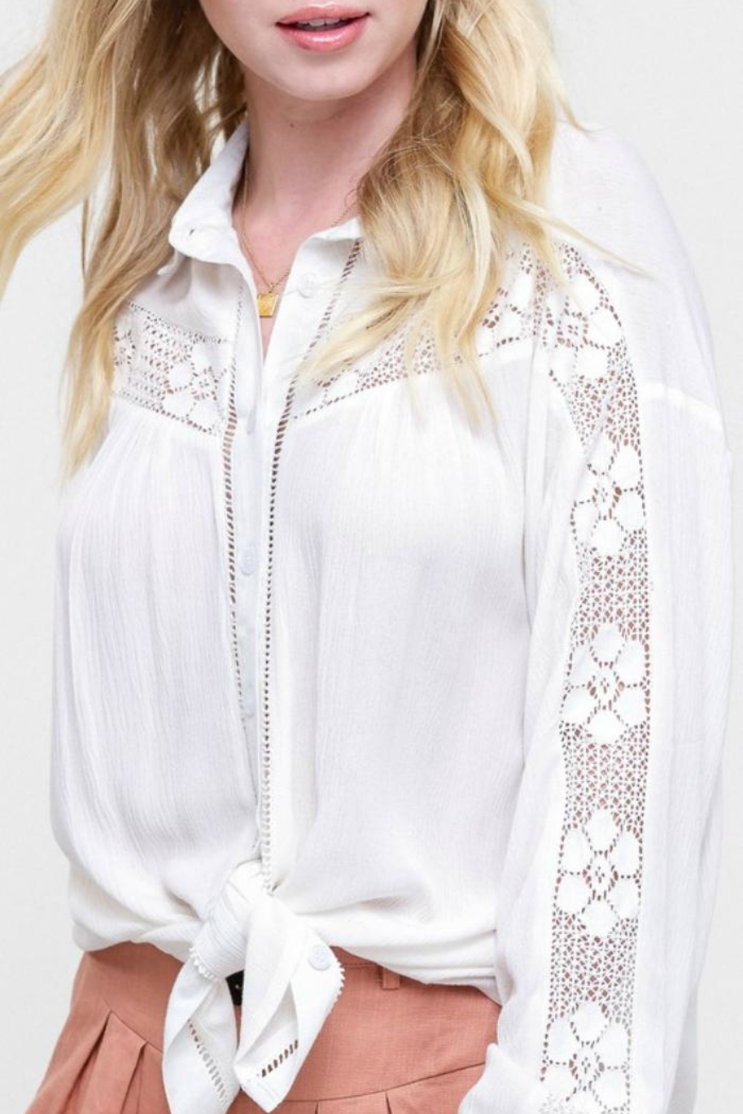 Listicle Lace-Inset White Blouse - Main Image