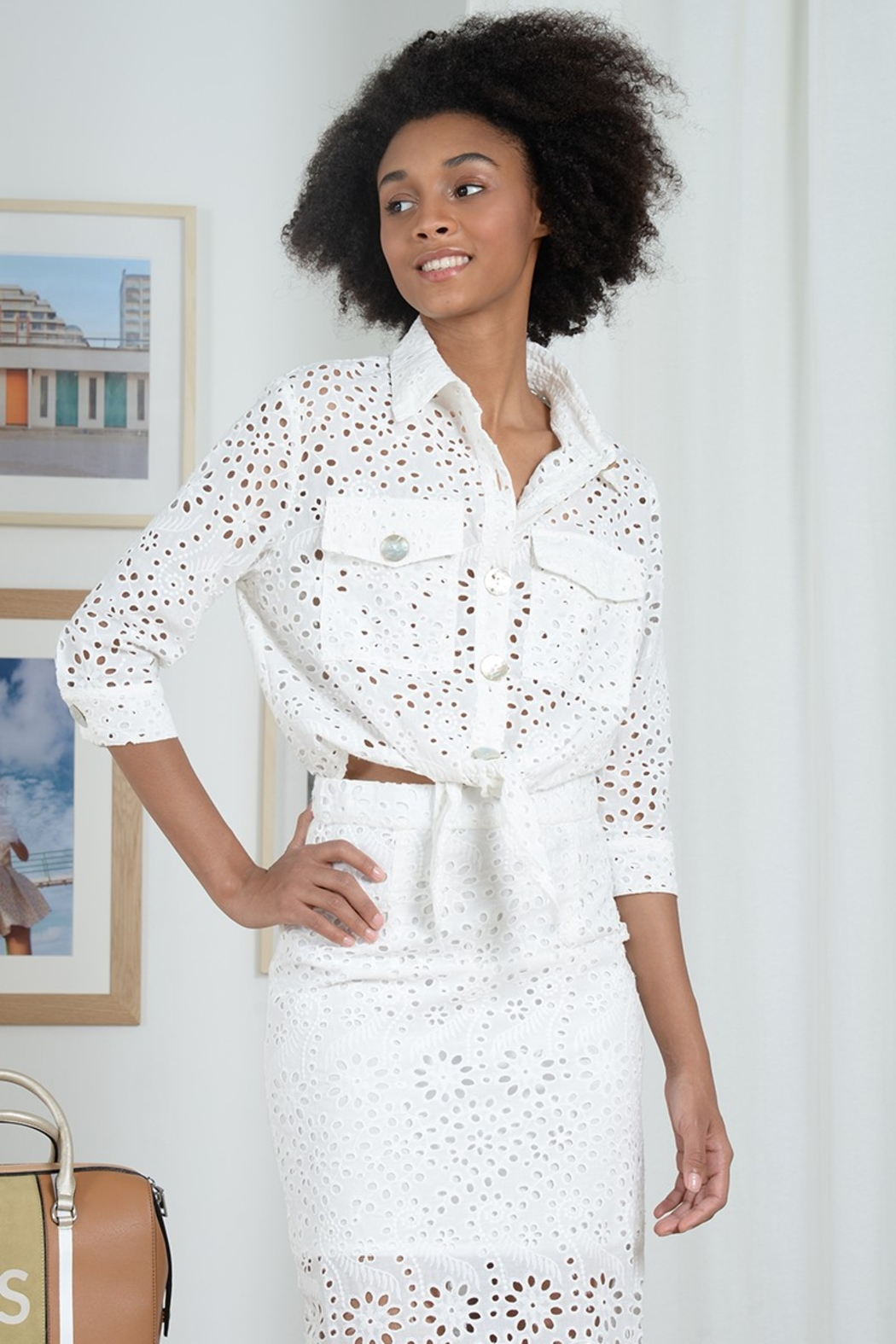 Molly Bracken LACE JACKET TIE FRONT - Front Full Image