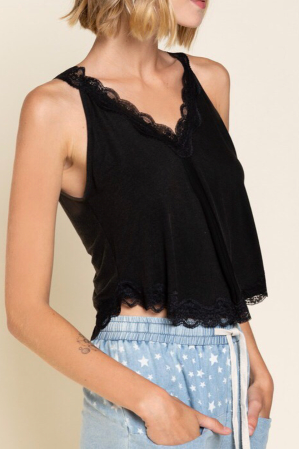 POL  Lace Knit Crop Tops - Front Full Image