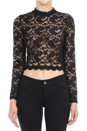 ambiance apparel Lace L/s Crop-Top - Front cropped