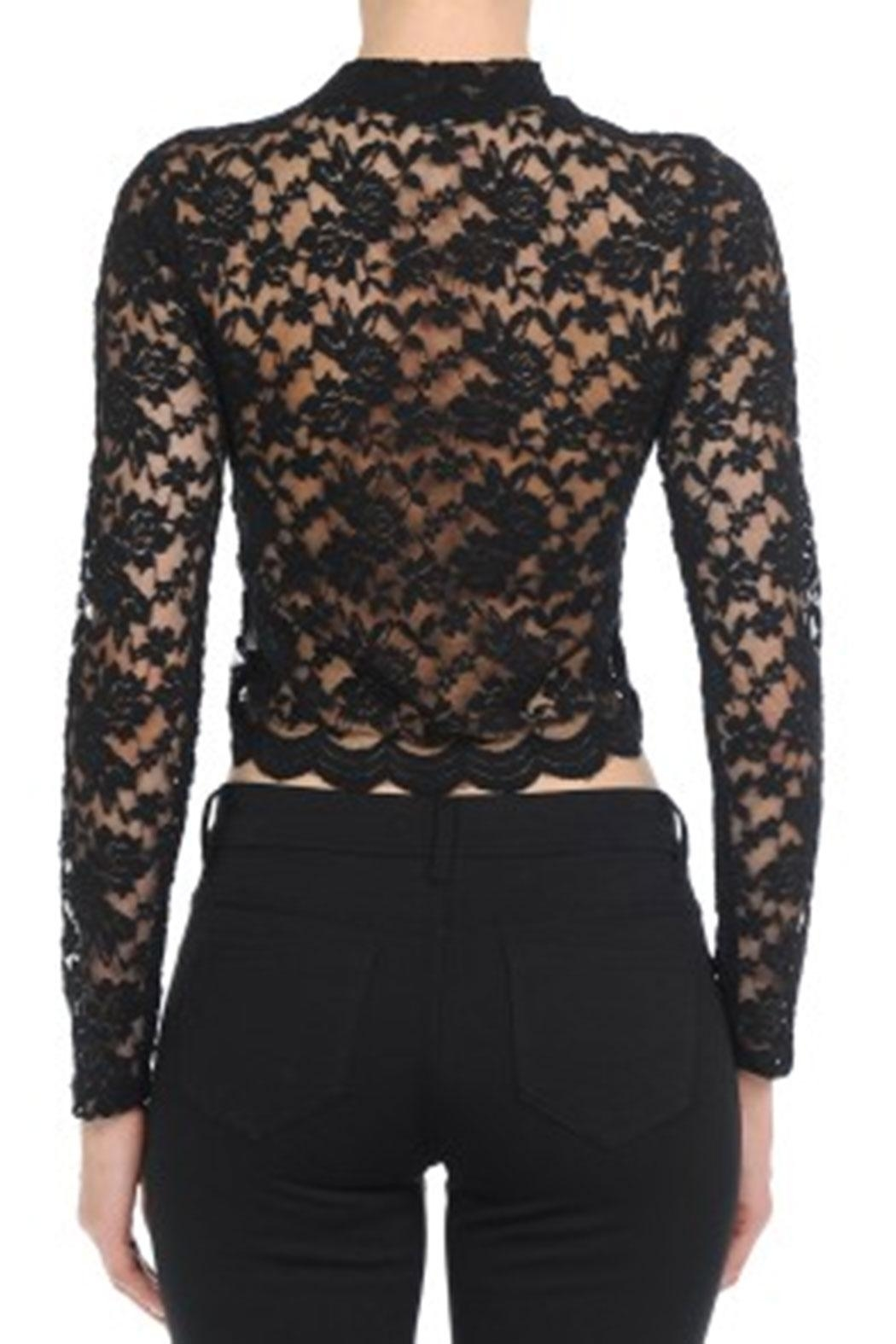 ambiance apparel Lace L/s Crop-Top - Side Cropped Image