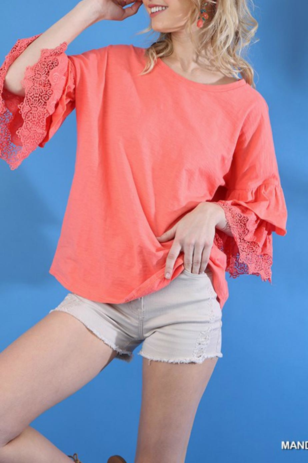 Umgee USA Lace Layered-Sleeve Tee - Front Full Image