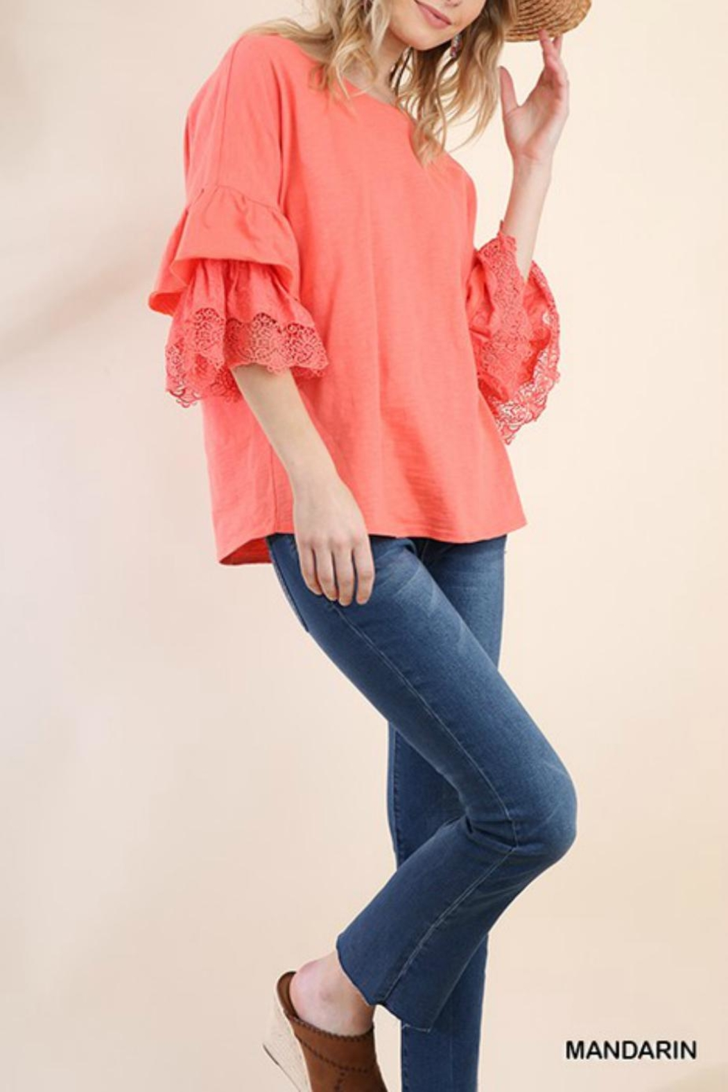 Umgee USA Lace Layered-Sleeve Tee - Front Cropped Image