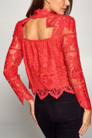 Olivaceous  Lace Long Sleeve Mock - Front cropped