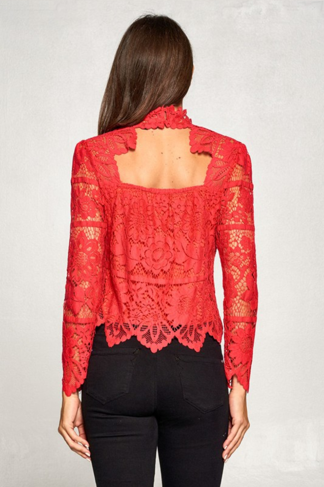 Olivaceous  Lace Long Sleeve Mock - Side Cropped Image