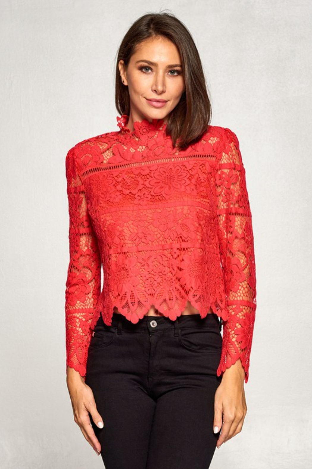 Olivaceous  Lace Long Sleeve Mock - Front Full Image