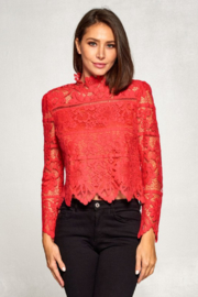 Olivaceous  Lace Long Sleeve Mock - Front full body