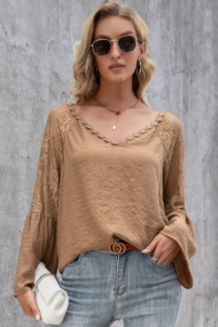 Esley  Lace Long Sleeve V Neck Top - Product List Image