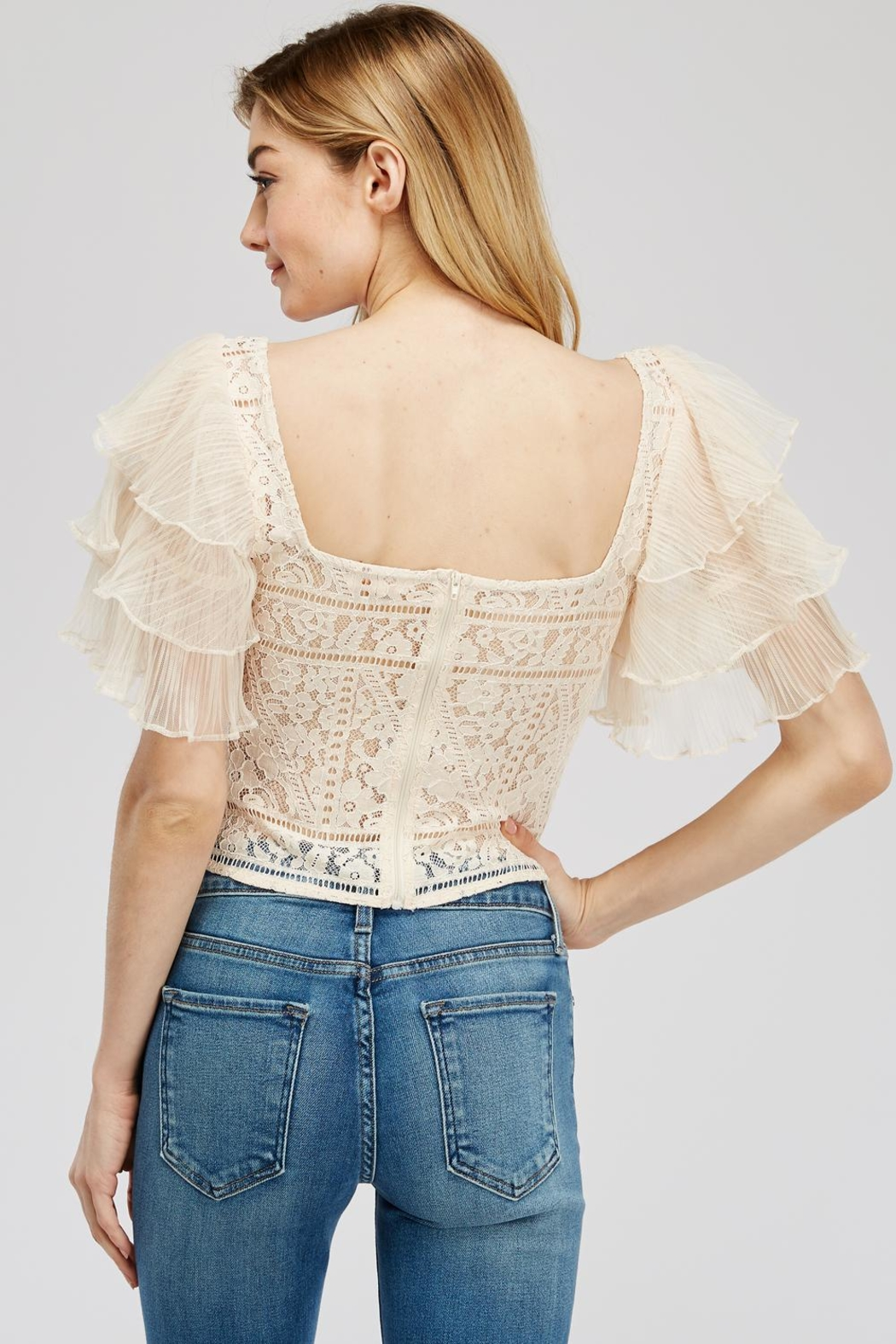 A Peach Lace-Mesh Crop Top - Side Cropped Image
