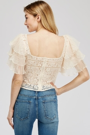 A Peach Lace-Mesh Crop Top - Side cropped