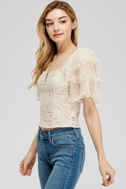 A Peach Lace-Mesh Crop Top - Front full body