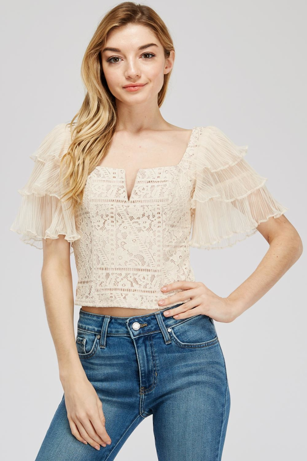 A Peach Lace-Mesh Crop Top - Main Image