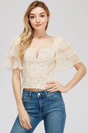 A Peach Lace-Mesh Crop Top - Front cropped