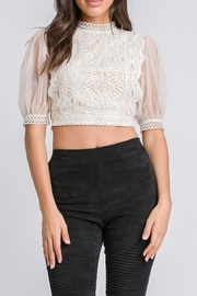A Peach Lace Mesh Top - Product Mini Image