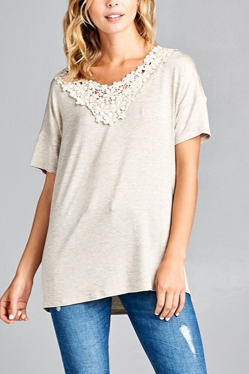 Lyn-Maree's  Lace Neck Tee - Main Image