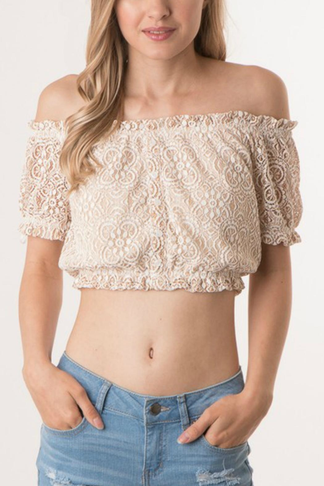 f0590fc454c87 ijoah Lace Off-Shoulder Crop-Top from California by Apricot Lane ...