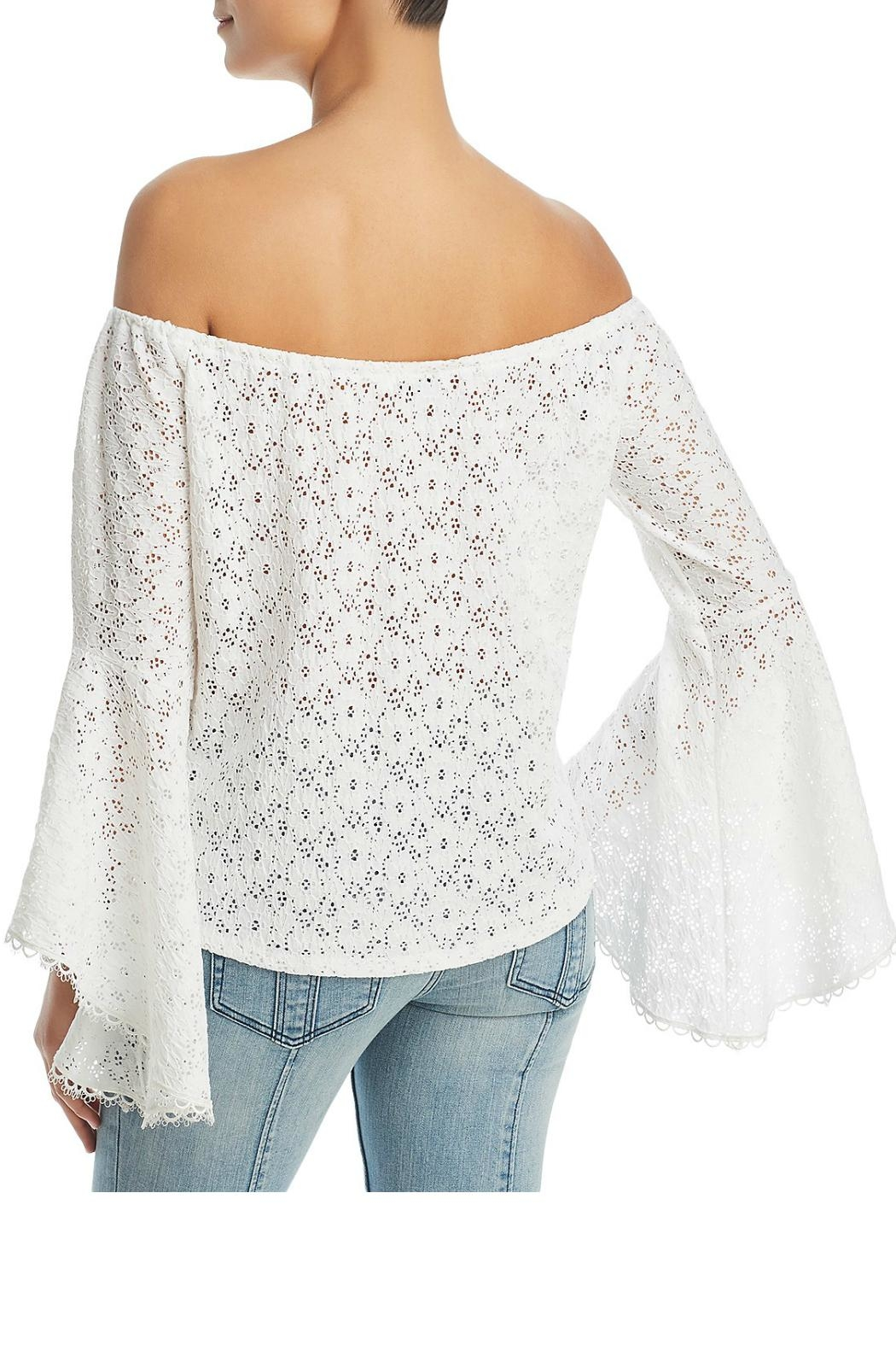 Red Haute Lace Off-The-Shoulder Top - Front Full Image
