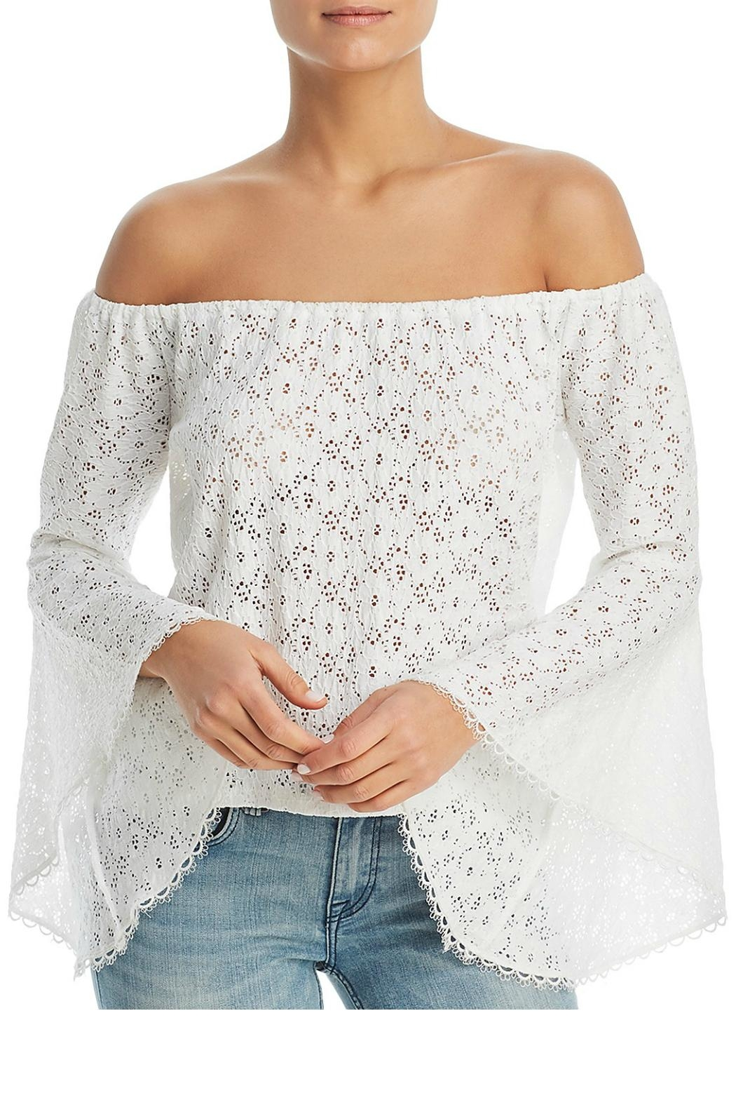 Red Haute Lace Off-The-Shoulder Top - Front Cropped Image
