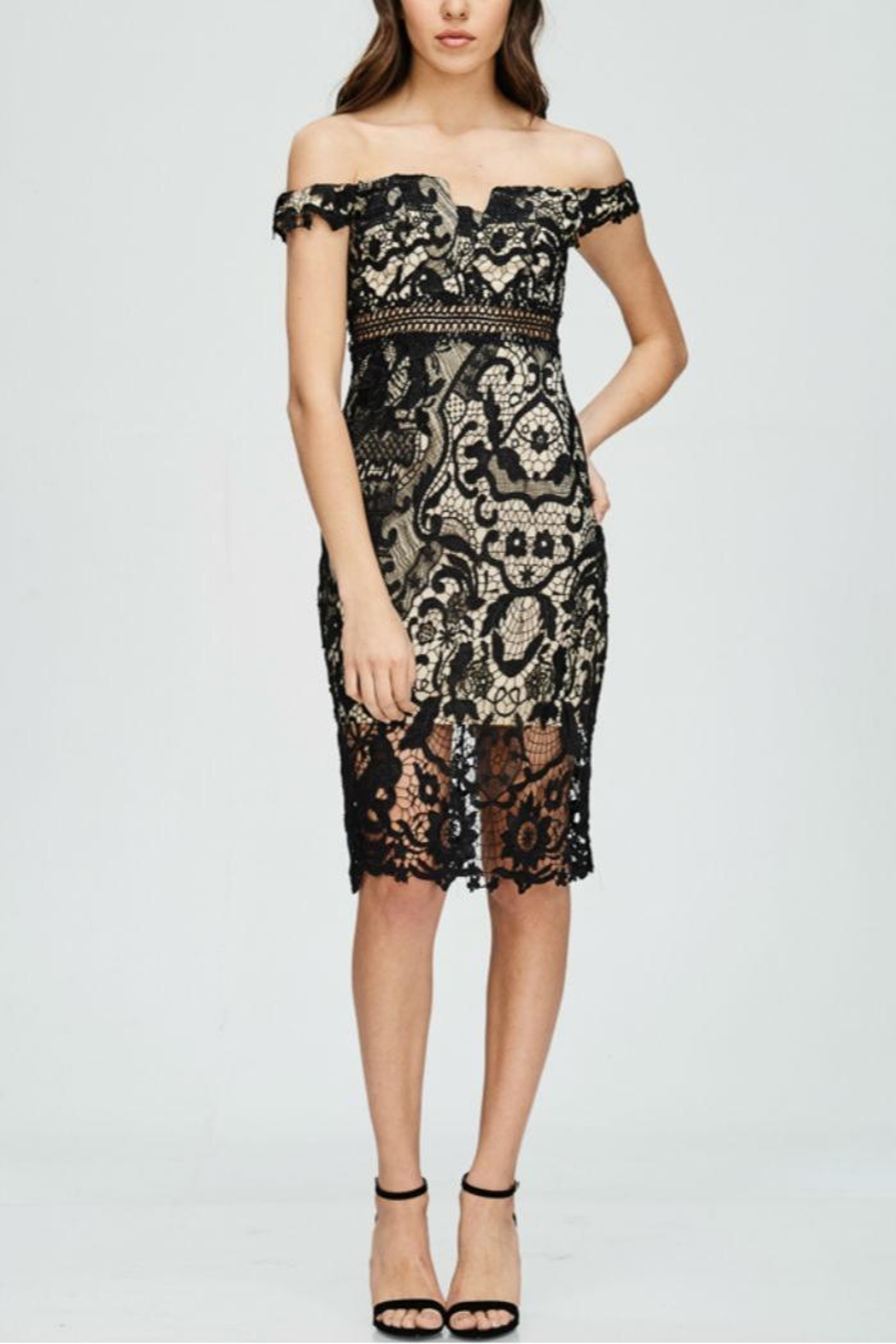 The Clothing Co Lace Offshoulder Dress - Front Cropped Image