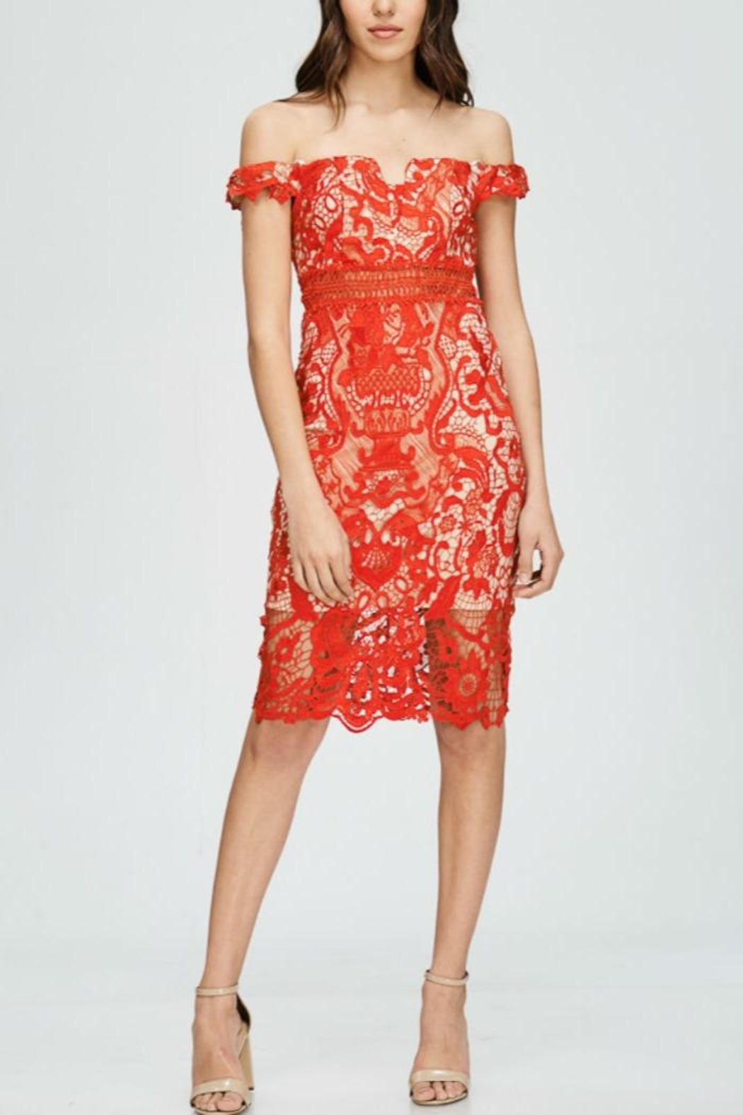 The Clothing Co Lace Offshoulder Dress - Main Image