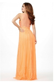 Jovani PROM Lace Orange Gown - Front full body