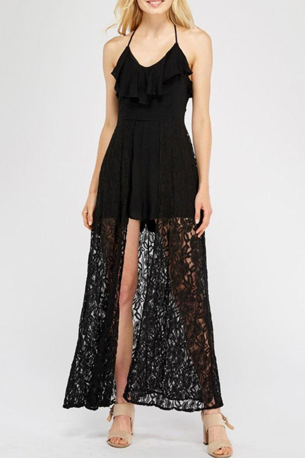 Entro Lace Overlay Halter-Romper - Main Image
